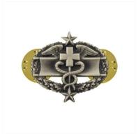 Vanguard ARMY DRESS BADGE: COMBAT MEDICAL THIRD AWARD MINIATURE, SILVER OXIDIZED