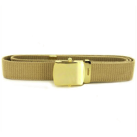 Vanguard NAVY BELT AND BUCKLE: KHAKI COTTON WITH 24K GOLD BUCKLE AND TIP MALE XL