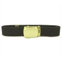 Vanguard NAVY BELT AND BUCKLE: BLACK COTTON WITH BRASS BUCKLE AND TIP - MALE XL
