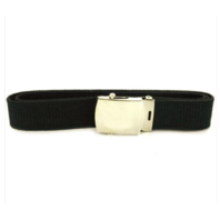 Vanguard NAVY BELT AND BUCKLE: BLACK COTTON SILVER MIRROR BUCKLE AND TIP - MALE