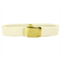 Vanguard NAVY BELT AND BUCKLE: WHITE COTTON WITH BRASS BUCKLE AND TIP - MALE