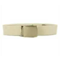 Vanguard NAVY BELT AND BUCKLE: WHITE COTTON NICKEL SILVER BUCKLE AND TIP MALE XL