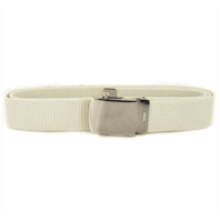 Vanguard NAVY BELT AND BUCKLE: WHITE COTTON SILVER MIRROR BUCKLE AND TIP - MALE