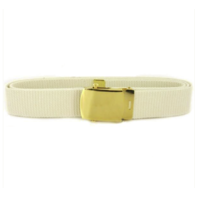 Vanguard NAVY BELT AND BUCKLE: WHITE COTTON WITH 24K GOLD BUCKLE AND TIP - MALE