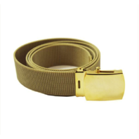 Vanguard NAVY BELT AND BUCKLE: KHAKI NYLON WITH 24K BUCKLE AND TIP - MALE XL