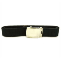 Vanguard NAVY BELT AND BUCKLE: BLACK NYLON SILVER MIRROR BUCKLE AND TIP MALE XL