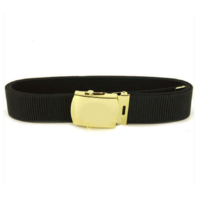 Vanguard NAVY BELT AND BUCKLE: BLACK NYLON WITH 24K GOLD BUCKLE AND TIP MALE XL