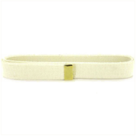 Vanguard NAVY BELT: WHITE COTTON WITH 24K GOLD TIP - FEMALE XL