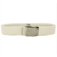 Vanguard USNSCC / NLCC BELT AND BUCKLE: WHITE COTTON SILVER MIRROR BUCKLE AND TIP - FEMALE