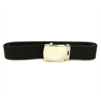 Vanguard NAVY BELT AND BUCKLE: BLACK COTTON SILVER MIRROR BUCKLE AND TIP - FEMALE