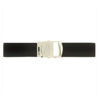 Vanguard NAVY BELT AND BUCKLE: BLACK POLY-WOOL SILVER MIRROR BUCKLE TIP - MALE