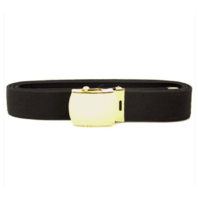 Vanguard NAVY BELT AND BUCKLE: BLACK POLY-WOOL 24K GOLD BUCKLE AND TIP - MALE XL