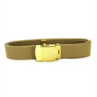 Vanguard NAVY BELT AND BUCKLE: KHAKI POLY-WOOL 24K GOLD BUCKLE AND TIP - MALE