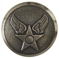 Vanguard USAF BUTTON: HAP ARNOLD - 30 LIGNE SILVER OXIDIZED