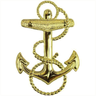 """Vanguard NAVY CAP DEVICE: MIDSHIPMAN 1-13/16"""" FOULED ANCHOR FOR COMBO COVER"""