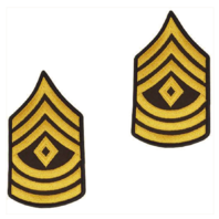 Vanguard ARMY CHEVRON: FIRST SERGEANT - GOLD EMBROIDERED ON GREEN, MALE