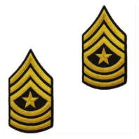 Vanguard ARMY CHEVRON: SERGEANT MAJOR - GOLD EMBROIDERED ON GREEN, MALE