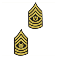 Vanguard ARMY CHEVRON: COMMAND SERGEANT MAJOR - GOLD EMBROIDERED ON GREEN, MALE