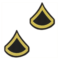 Vanguard ARMY CHEVRON: PRIVATE FIRST CLASS - GOLD EMBROIDERED ON BLUE, MALE