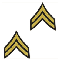 Vanguard ARMY CHEVRON: CORPORAL - GOLD EMBROIDERED ON BLUE, MALE