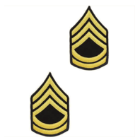 Vanguard ARMY CHEVRON: SERGEANT FIRST CLASS - GOLD EMBROIDERED ON BLUE, MALE