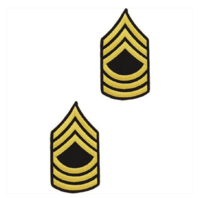 Vanguard ARMY CHEVRON: MASTER SERGEANT - GOLD EMBROIDERED ON BLUE, MALE