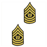 Vanguard ARMY CHEVRON: COMMAND SERGEANT MAJOR - GOLD EMBROIDERED ON BLUE, MALE