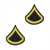 Vanguard ARMY CHEVRON: PRIVATE FIRST CLASS - GOLD EMBROIDERED ON BLUE, FEMALE