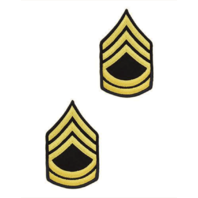 Vanguard ARMY CHEVRON: SERGEANT FIRST CLASS - GOLD EMBROIDERED ON BLUE, FEMALE