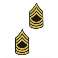 Vanguard ARMY CHEVRON: MASTER SERGEANT - GOLD EMBROIDERED ON BLUE, FEMALE