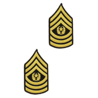 Vanguard ARMY CHEVRON: FEMALE COMMAND SERGEANT MAJOR - GOLD EMBROIDERED ON BLUE