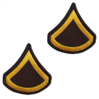 Vanguard ARMY CHEVRON: PRIVATE FIRST CLASS - GOLD EMBROIDERED ON GREEN, FEMALE