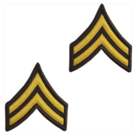Vanguard ARMY CHEVRON: CORPORAL - GOLD EMBROIDERED ON GREEN, FEMALE