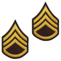 Vanguard ARMY CHEVRON: STAFF SERGEANT - GOLD EMBROIDERED ON GREEN, FEMALE