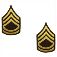 Vanguard ARMY CHEVRON: SERGEANT FIRST CLASS - GOLD EMBROIDERED ON GREEN, FEMALE