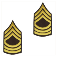 Vanguard ARMY CHEVRON: MASTER SERGEANT - GOLD EMBROIDERED ON GREEN, FEMALE