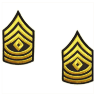 Vanguard ARMY CHEVRON: FIRST SERGEANT - GOLD EMBROIDERED ON GREEN, FEMALE
