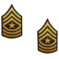 Vanguard ARMY CHEVRON: SERGEANT MAJOR - GOLD EMBROIDERED ON GREEN, FEMALE