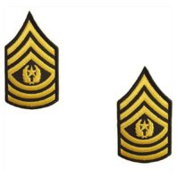 Vanguard ARMY CHEVRON: COMMAND SERGEANT MAJOR - GOLD EMBROIDERED ON GREEN FEMALE