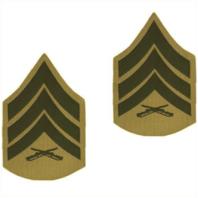 Vanguard MARINE CORPS CHEVRON: SERGEANT - GREEN EMBROIDERED ON KHAKI, MALE
