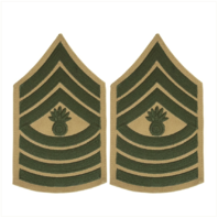 Vanguard MARINE CORPS CHEVRON: MASTER GUNNERY SERGEANT - GREEN ON KHAKI FOR MALE