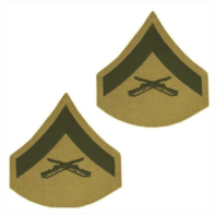 Vanguard MARINE CORPS CHEVRON: LANCE CORPORAL - GREEN EMBROIDERED ON KHAKI, FEMALE