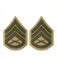 Vanguard MARINE CORPS CHEVRON: STAFF SERGEANT - GREEN EMBROIDERED ON KHAKI, FEMALE