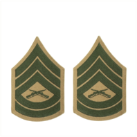 Vanguard MARINE CORPS CHEVRON: GUNNERY SERGEANT - GREEN ON KHAKI FOR FEMALE