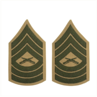 Vanguard MARINE CORPS CHEVRON: MASTER SERGEANT GREEN EMBROIDERED ON KHAKI FEMALE