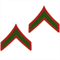 Vanguard MARINE CORPS CHEVRON PRIVATE FIRST CLASS GREEN EMBROIDERED ON RED, MALE