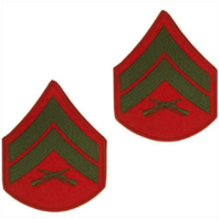 Vanguard MARINE CORPS CHEVRON: CORPORAL - GREEN EMBROIDERED ON RED, MALE