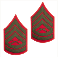 Vanguard MARINE CORPS CHEVRON: GUNNERY SERGEANT - GREEN EMBROIDERED ON RED, MALE