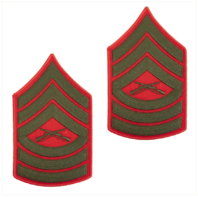 Vanguard MARINE CORPS CHEVRON: MASTER SERGEANT - GREEN EMBROIDERED ON RED, MALE