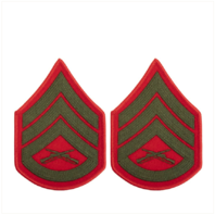 Vanguard MARINE CORPS CHEVRON: STAFF SERGEANT - GREEN EMBROIDERED ON RED, FEMALE